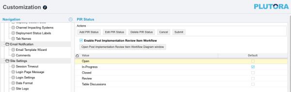 Customization PIR Status