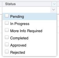 Status combo box GCF Environment Requests