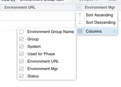 Environments column checkboxes