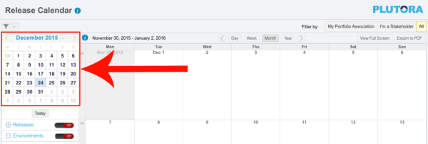 Release Calendar with filters closed red rectangle