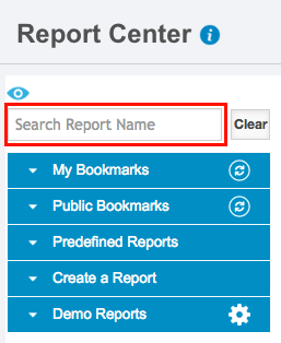 Report Center update search field v43200
