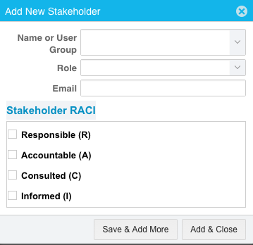 Add New Stakeholder Change