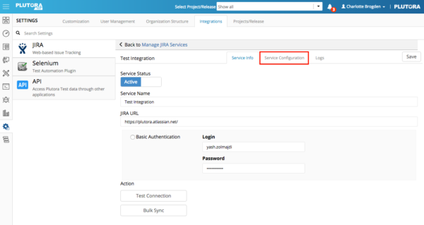 Settings Integrations Sept 28 2017 JIRA service configuration