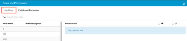 User Roles tab