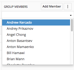 Group Members drop-down menu