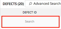 Defect Search filter
