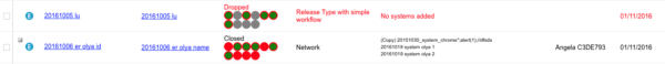 Black and red highlighted Releases in Release Manager