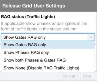 RAG status menu