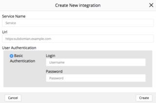 Create New Integration pop up Sept 28 2017
