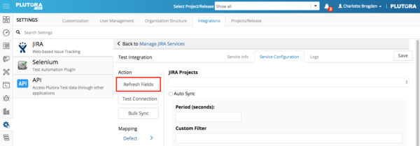 Settings Integrations Sept 28 2017 JIRA service configuration refresh fields