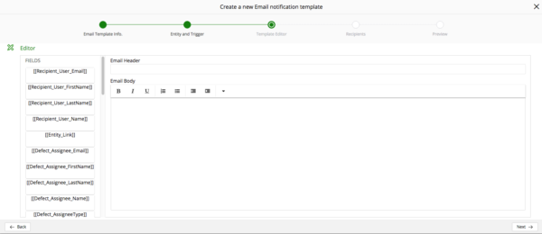 Email notification Template Edit tab