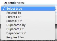 Dependencies drop-down menu